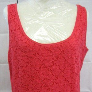 French Laundry L Coral Floral Lace Tank